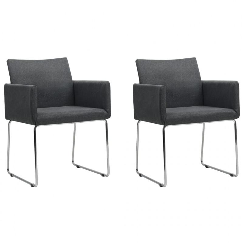 VidaXL Fauteuils et chaises Chaises de salle à manger 2 pcs Gris foncé Tissu