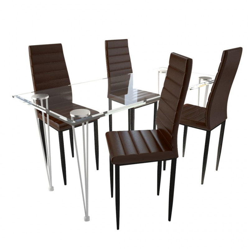VidaXL Set 4 sedie da tavola marrone linea sottile con 1 tavolo ...