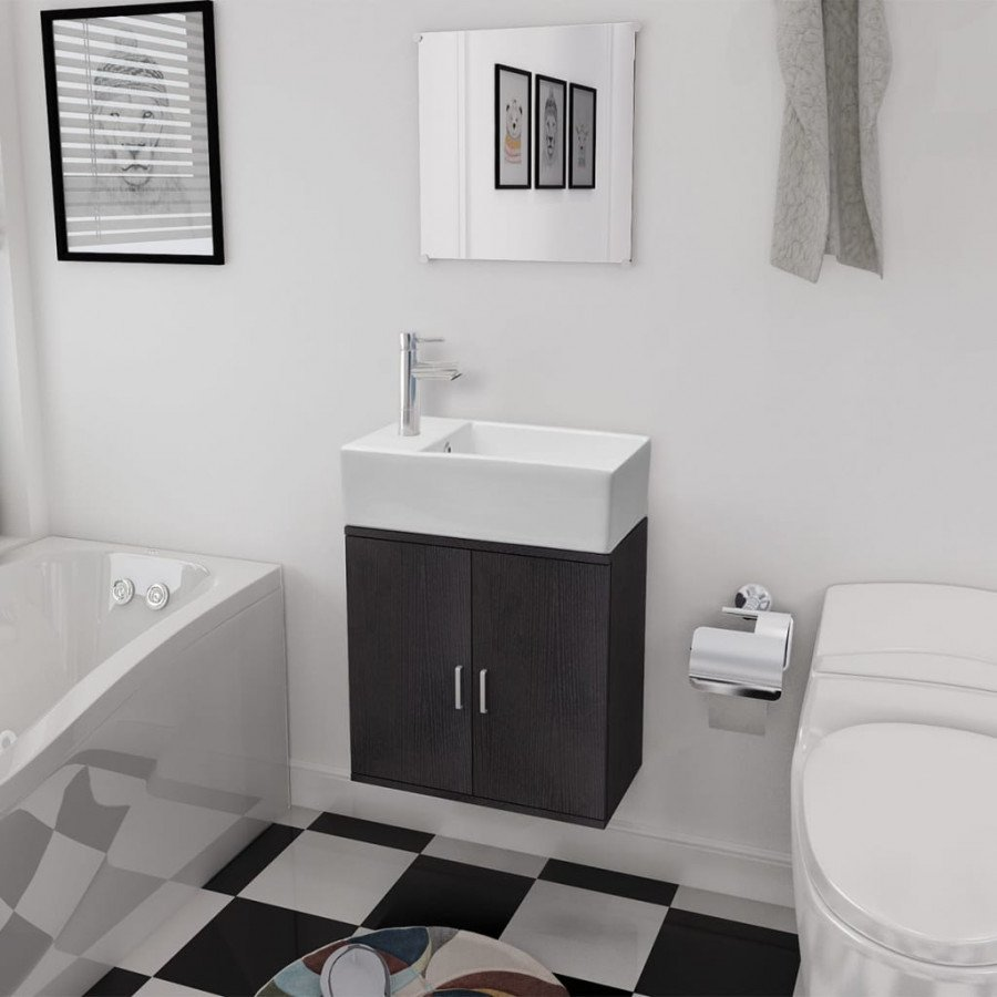 VidaXL Set 3 pz mobili da bagno e lavandino nero - Epto
