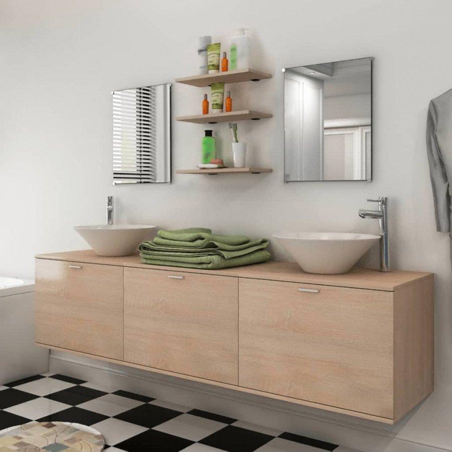 VidaXL Set 8 pz mobili da bagno e lavandino beige - Epto