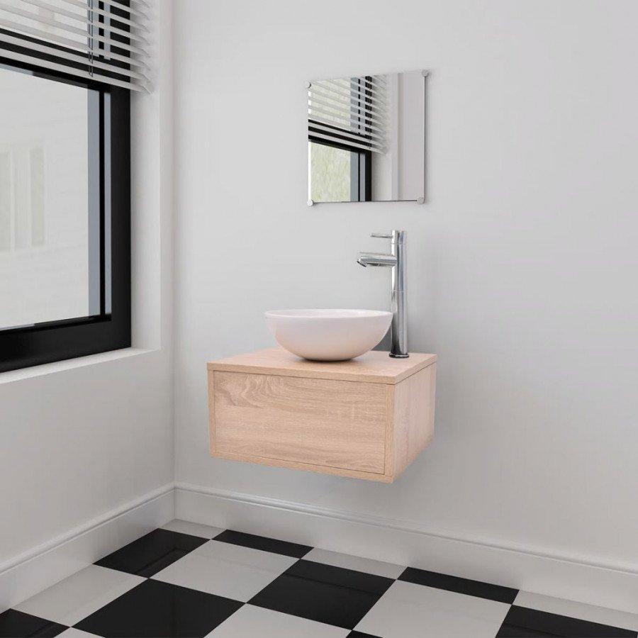 VidaXL Set 4 mobili per bagno con lavandino con rubinetto beige - Epto