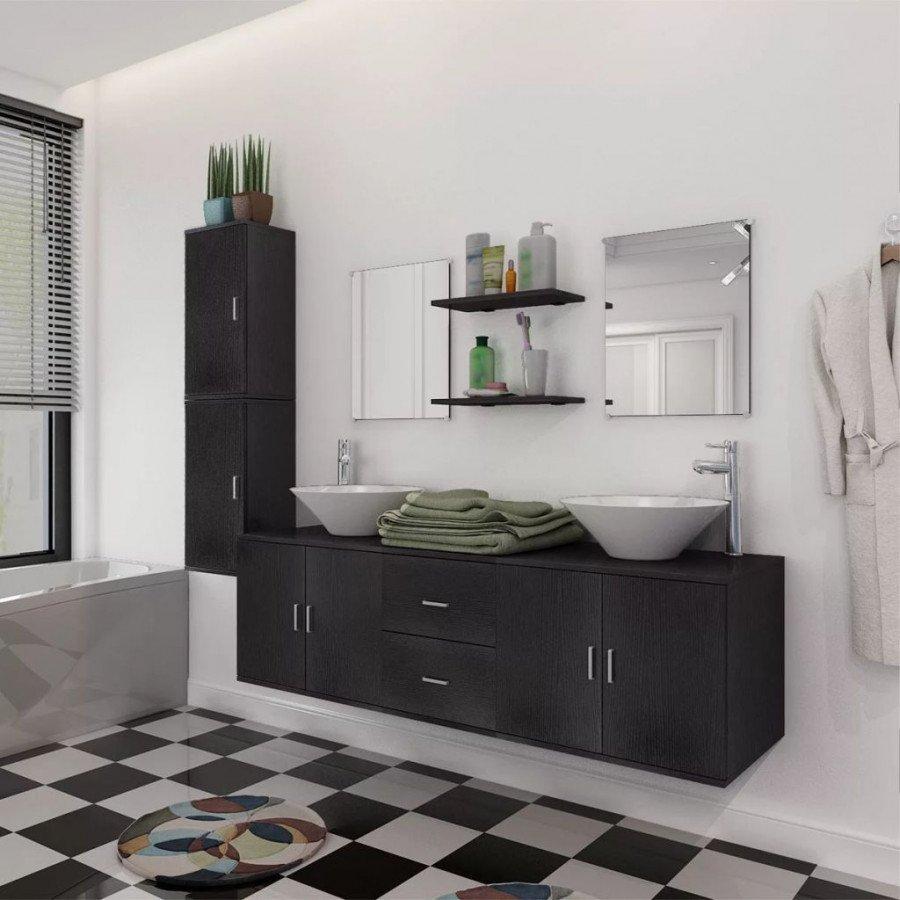 VidaXL - Bagno Set mobili per bagno 11 pz con lavandino con ...