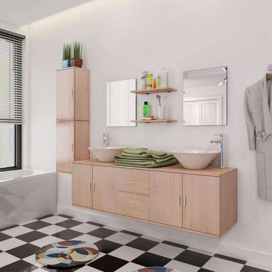 VidaXL - Bagno Set 11 mobili per bagno con lavandino con rubinetto ...