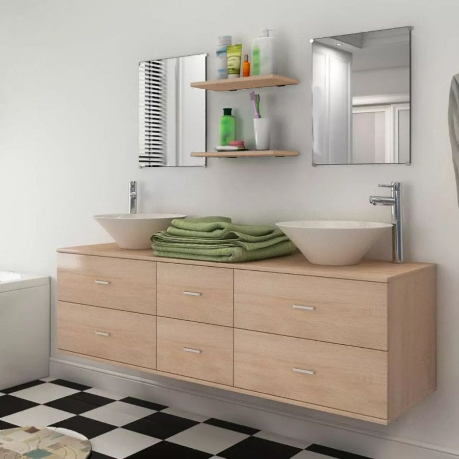 Muebles Para El Cuarto De Bano.Vidaxl Conjuntos De Mobiliario Set Muebles Para Bano Con Lavabo Y Grifos 9 Uds Beis
