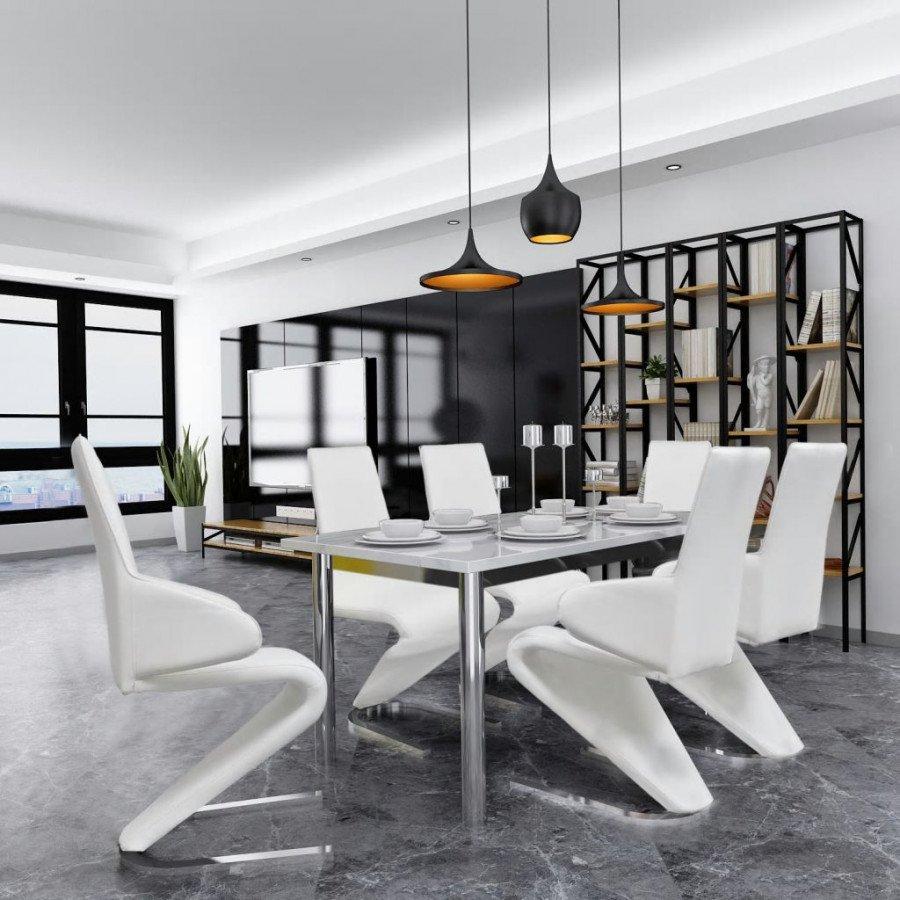 Sedie Per Sala Da Pranzo Moderne.Vidaxl Arredamento Casa Cucina Vidax 6 Pz Sedie A Sbalzo Sala Da Pranzo In Pelle Sintetica Bianca