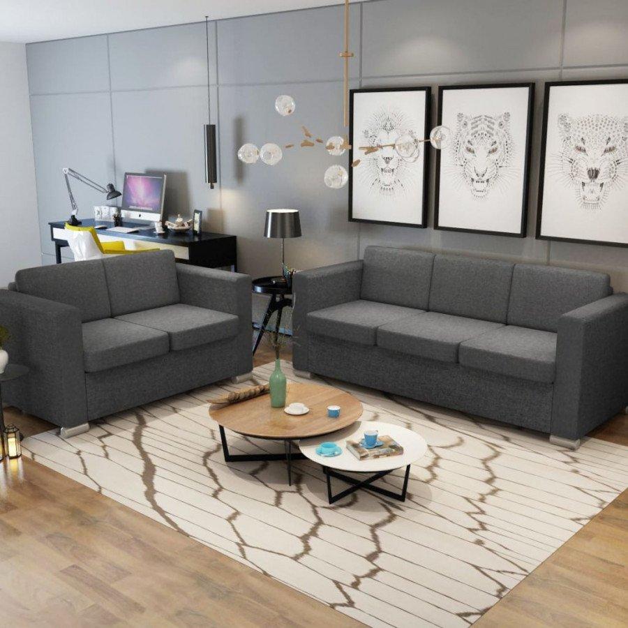 VidaXL 2 pz set di divani in stoffa grigio scuro - Epto