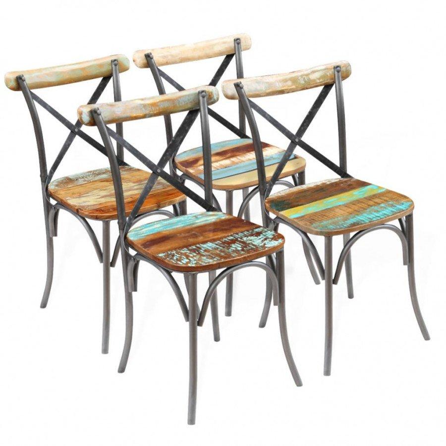 Sedie In Legno Riciclato.Vidaxl Sedie Sala Da Pranzo 4 Pz Legno Massello Riciclato 51x52x84