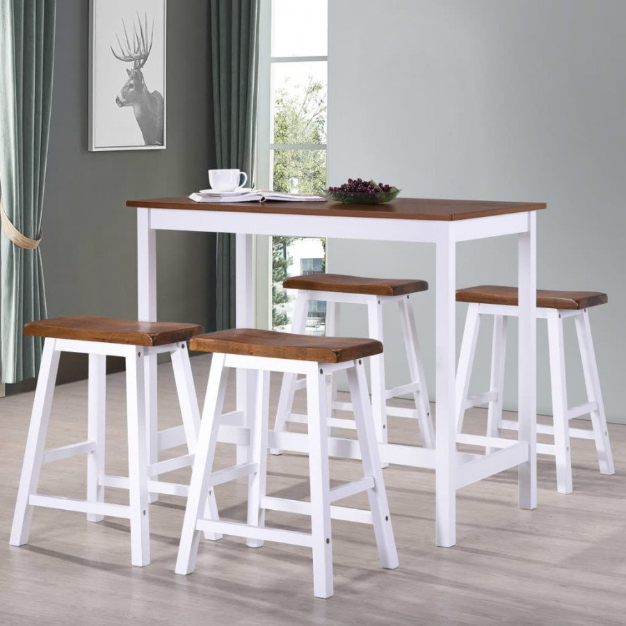 vidaXL Conjuntos de mobiliario Juego de mesa alta y taburete de cocina 5  pzas madera maciza