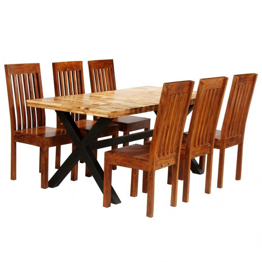 VidaXL Arredamento Casa Cucina Set Tavolo da Pranzo 7 pz Legno Massello di  Acacia e Mango