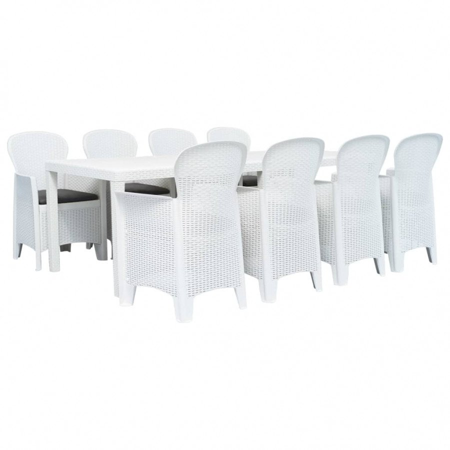 Set Da Giardino Plastica.Vidaxl Set Pranzo Da Giardino 9 Pz In Plastica Stile Rattan