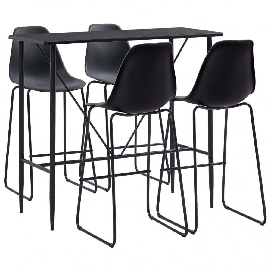VidaXL Set da Bar 5 pz in Plastica Nero