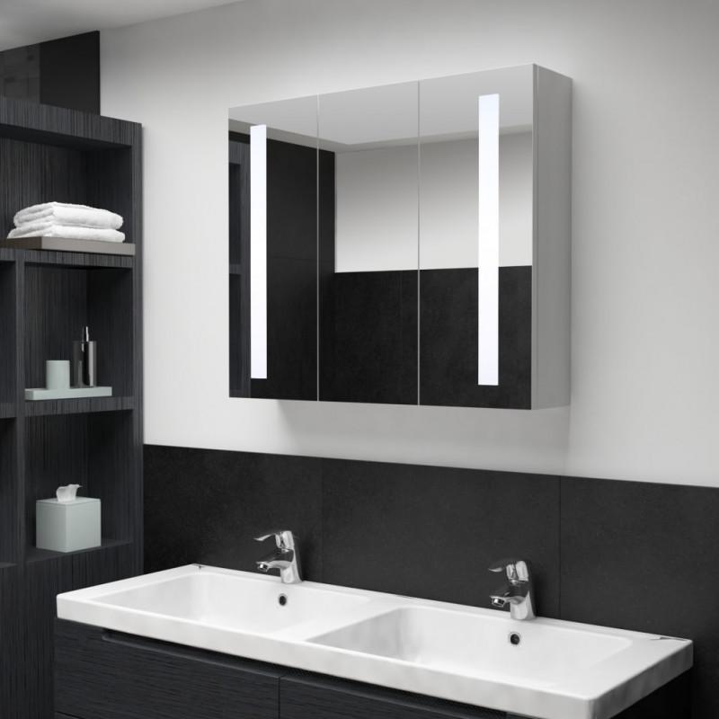 vidaXL Armarios y almacenamiento Armario de cuarto de baño con espejo y LED  89x14x62 cm