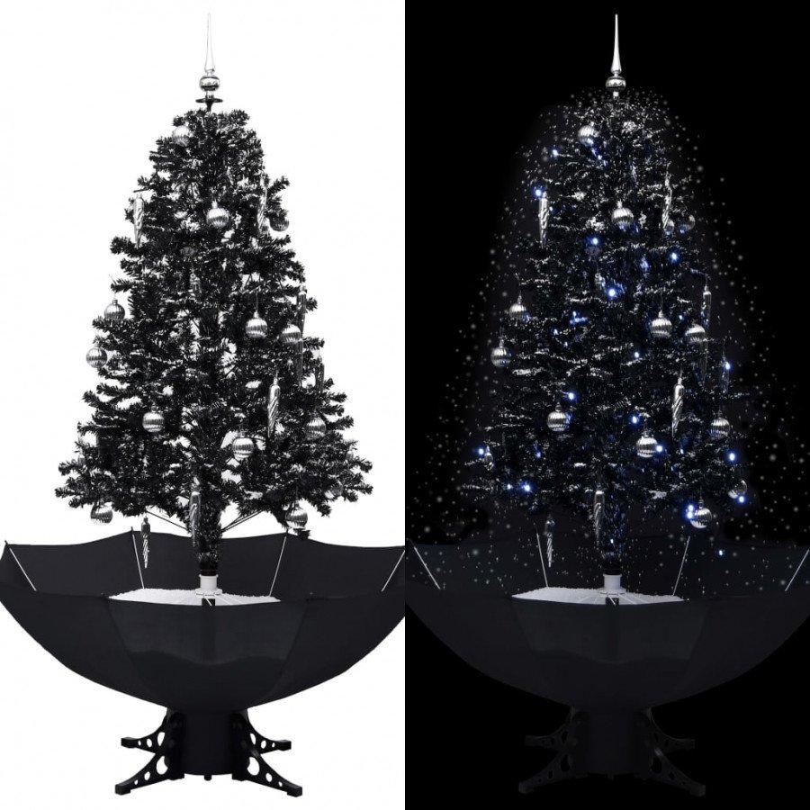 Foto Con La Neve Di Natale.Vidaxl Albero Di Natale Con Nevicata E Base Ad Ombrello Nero 170cm Pvc Arredamento Casa Cucina Epto