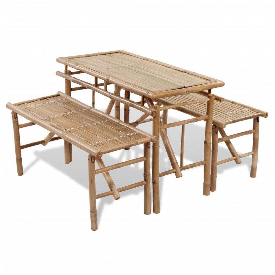 Tavolo Con Panche Da Birreria.Vidaxl Tavolo Da Birreria Con 2 Panchine 100 Cm In Bambu Epto