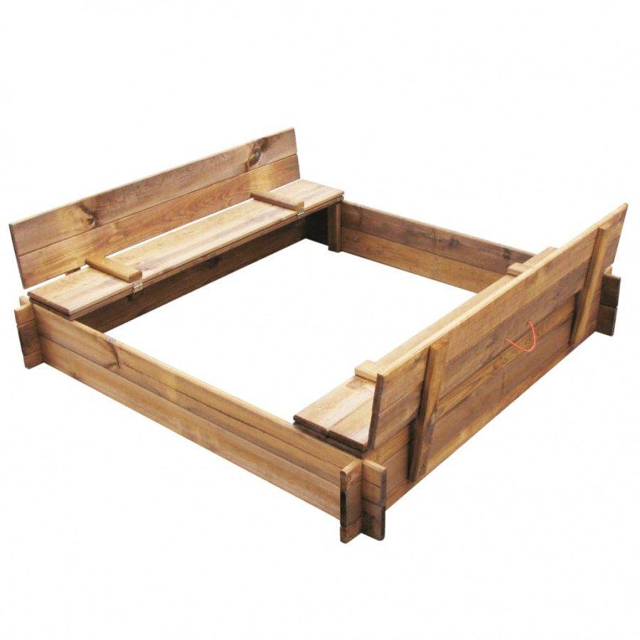 vidaXL Estructuras para juegos al aire libre Arenero de jardín para niños  cuadrado de madera impregnada FSC