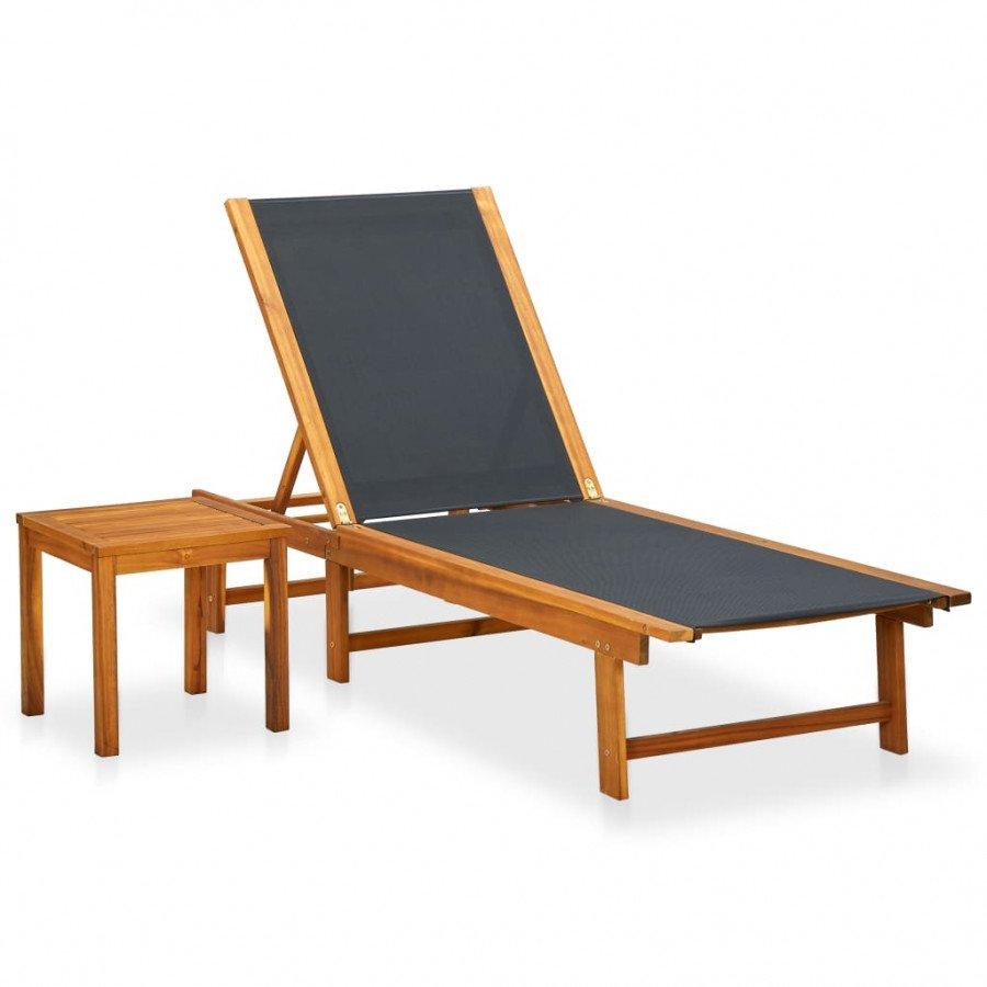 VidaXL Meubles de jardin Chaise longue avec table Bois d\'acacia solide et  textilène