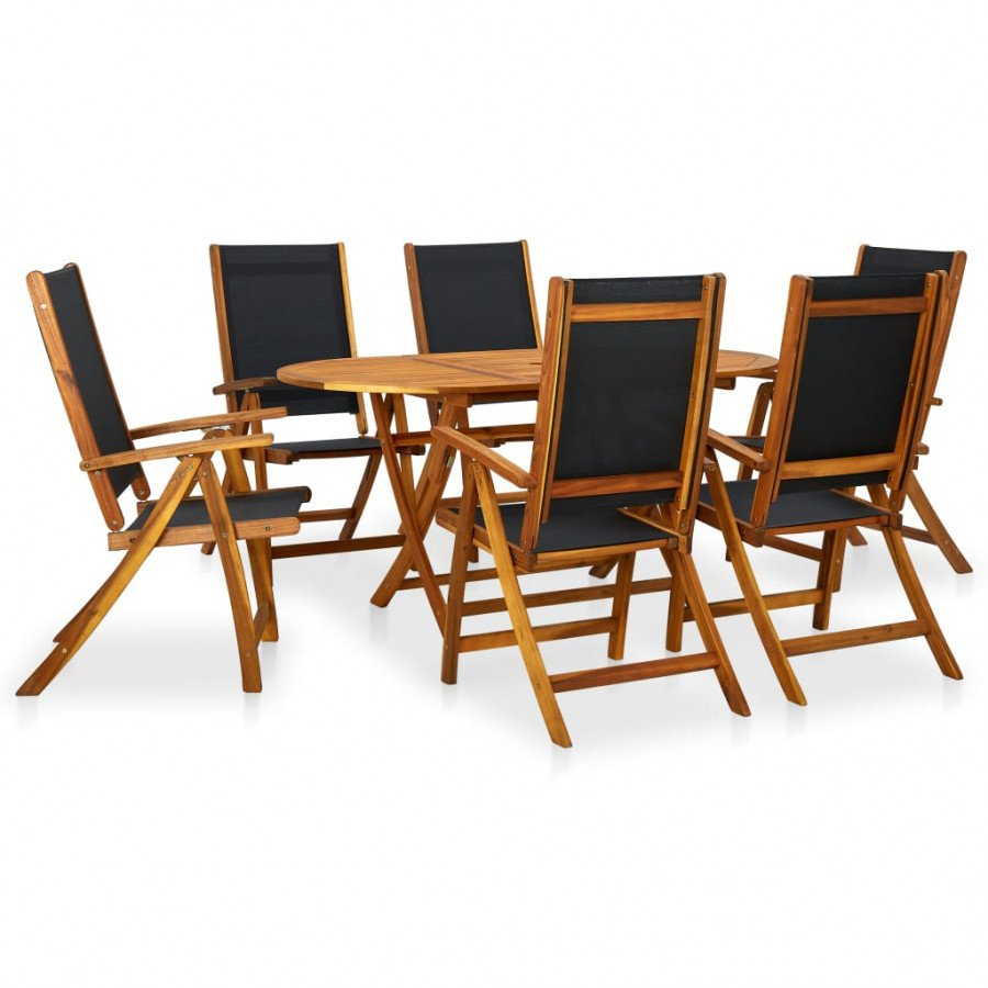 VidaXL Meubles de jardin Mobilier à dîner d\'extérieur 7 pcs en Bois  d\'acacia solide