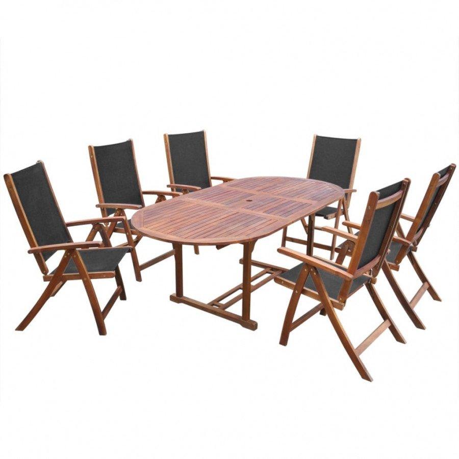 vidaXL VX41749 Comedor de jardín 7 pzas madera acacia mesa pleglabe ...
