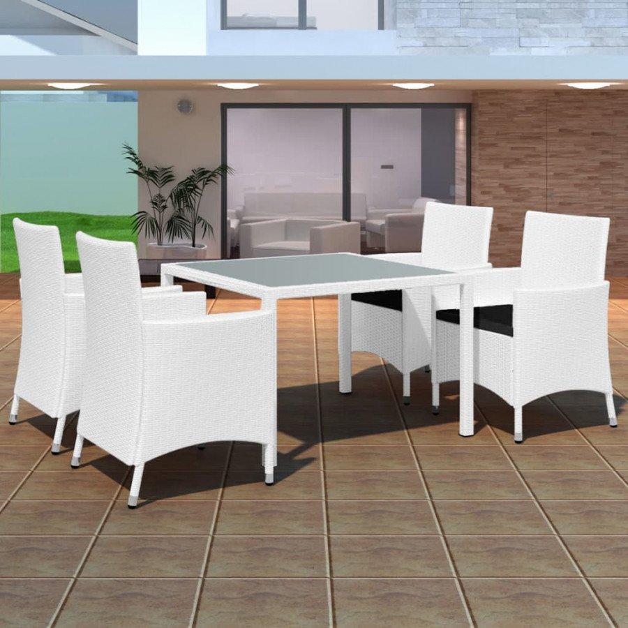 Conjunto de comedor de jardín 9 piezas poli ratán blanco crema Este set de  muebles de ratán para jardín de diseño elegante, se convertirá en el punto  ...