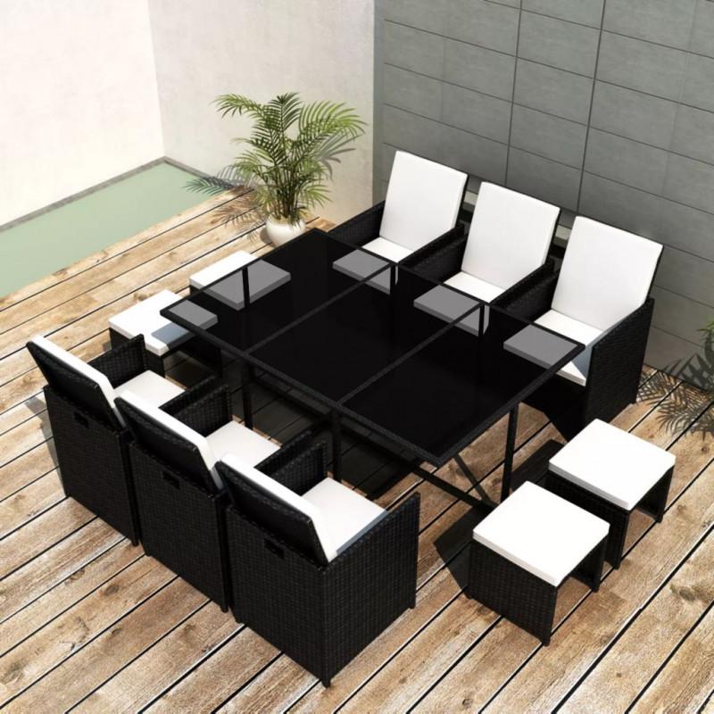 Mobilier de jardin 11 pcs avec coussins Résine tressée Noir Notre ensemble  de mobilier de jardin élégant en rotin deviendra l\'attraction ...