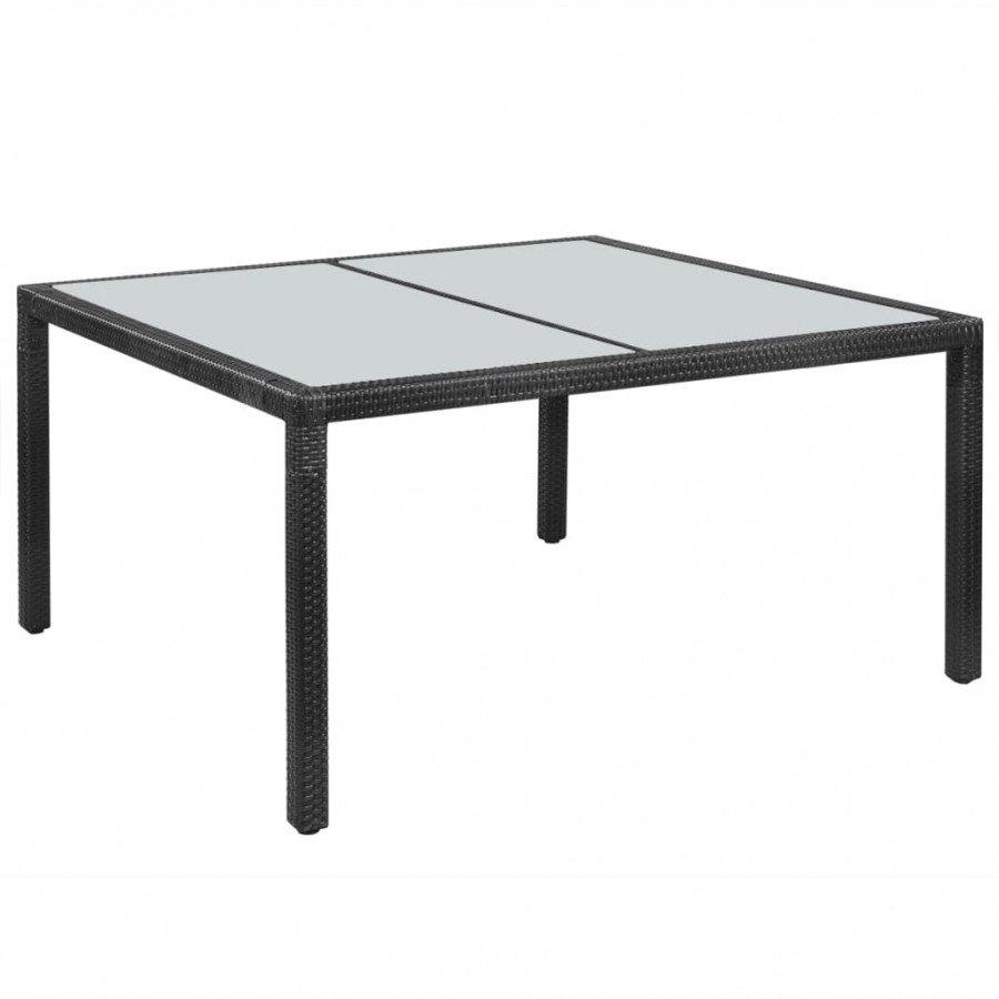 VidaXL Meubles de jardin Table de jardin Résine tressée 150 x 90 x 75 cm  Noir
