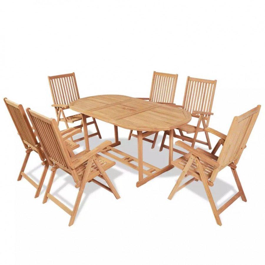 Maciza Sillas Muebles Pzas Vidaxl De Teca Jardín Set Plegables 7 Comedor Con yNOnwvm80P