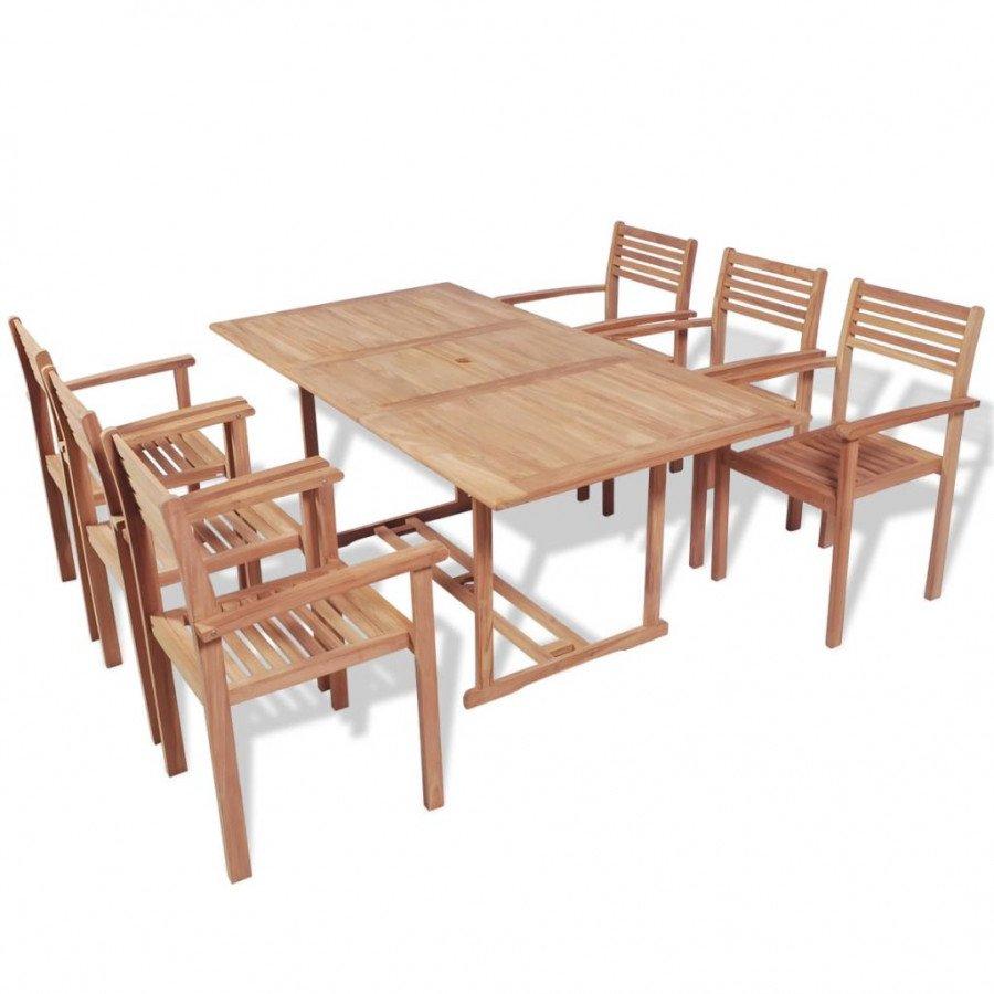 VidaXL Meubles de jardin Mobilier à dîner d\'extérieur 7 pcs Bois de teck  solide