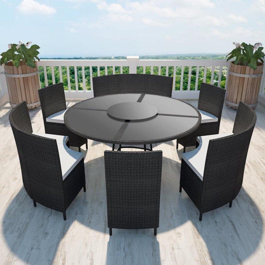 Questo Set Da Giardino Per 12 Persone In Polyrattan è Composto Da 1 Tavolo,  3 Panche, 3 Sedie E 6 Cuscini Per ...