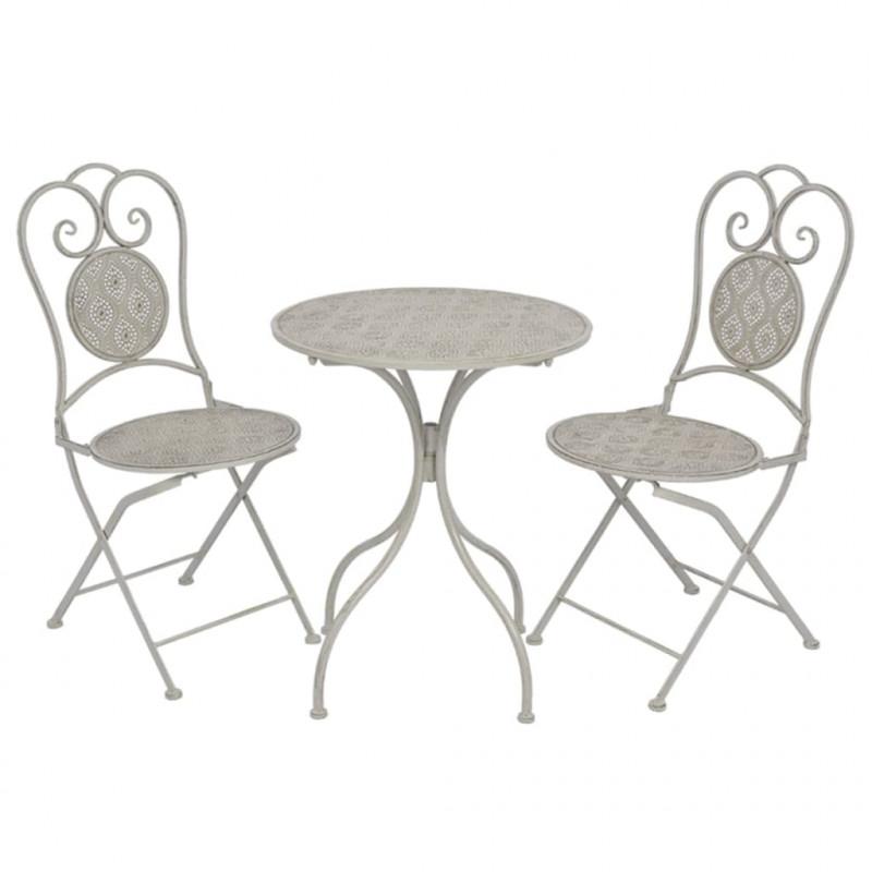 vidaXL VX43154 Juego de mesa y sillas bistro de jardín 3 piezas gris ...