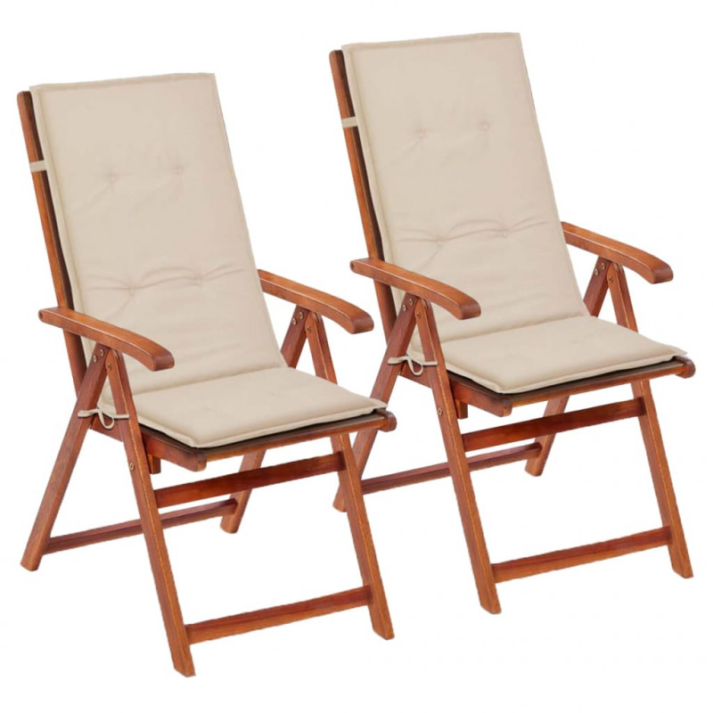 VidaXL 2 pz cuscini per sedie da giardino crema 120x50x3 ...
