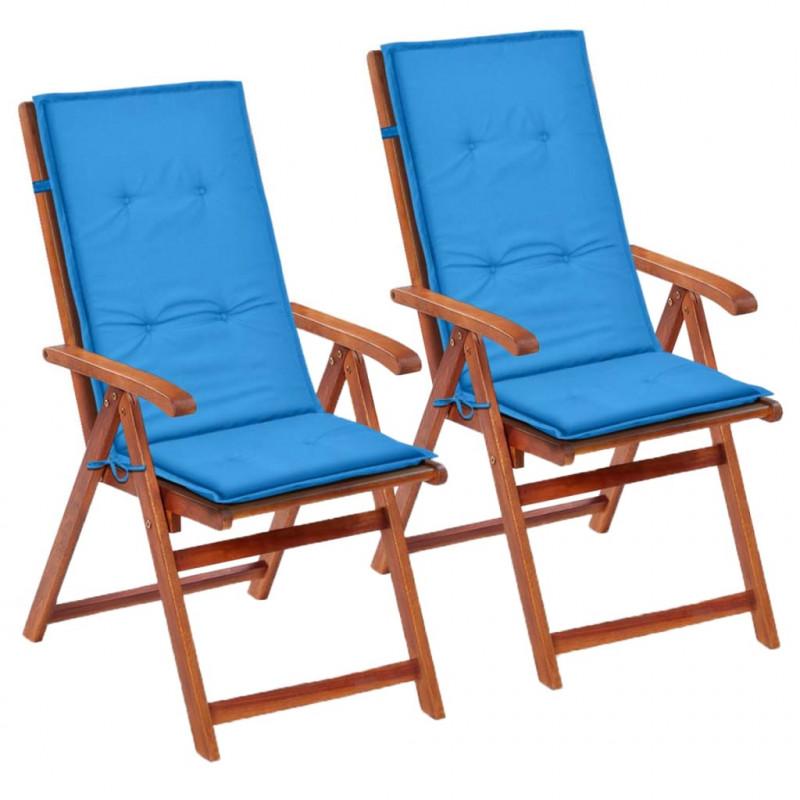 Cuscini Sedie Da Esterno.Vidaxl 2 Pz Cuscini Per Sedie Da Giardino Blu 120x50x3 Cm Epto
