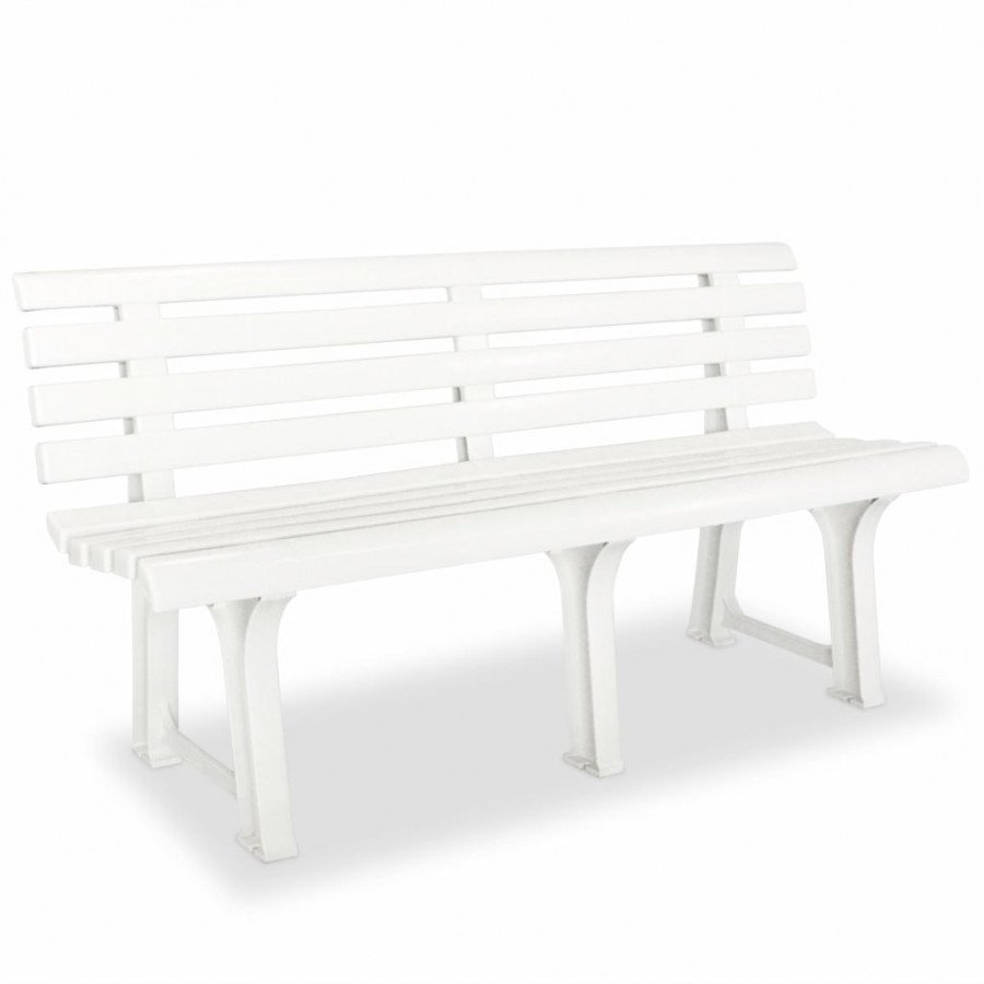 VidaXL VX43583 Banc de jardin 145,5 x 49 x 74 cm plastique blanc ...