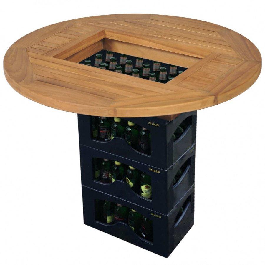 VidaXL Piano tavolo per cassa di birra in legno di teak 70 cm - Epto
