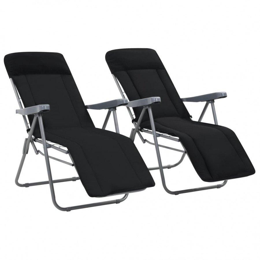 Chaises avec pcs 2 pliables de coussins VidaXL jardin Noir reCxodBW