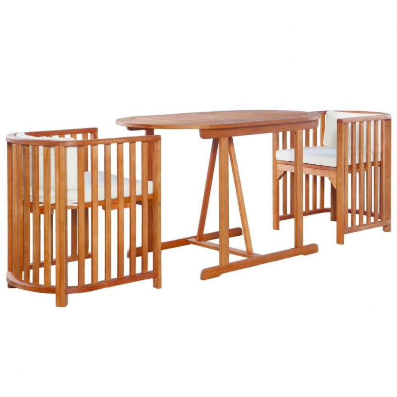 vidaXL Muebles de jardín Mesa y sillas de jardín 3 piezas y cojines madera de eucalipto