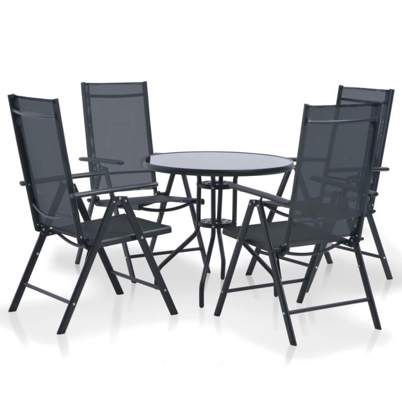 deb8f4659 vidaXL Set de comedor de jardín 5 piezas de aluminio y textilene negro