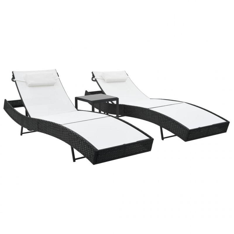 Résine Noir Table Avec Tressée Vidaxl 2 Et Pcs Vx44894 Blanc Chaises Longues 0nmwN8v