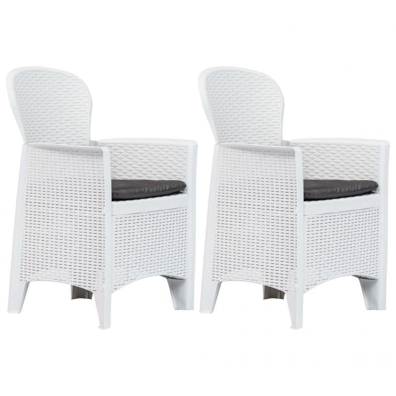 Come Pulire Le Sedie Di Plastica Da Giardino.Vidaxl Sedie Da Giardino 2 Pz Cuscino Bianche In Plastica Stile