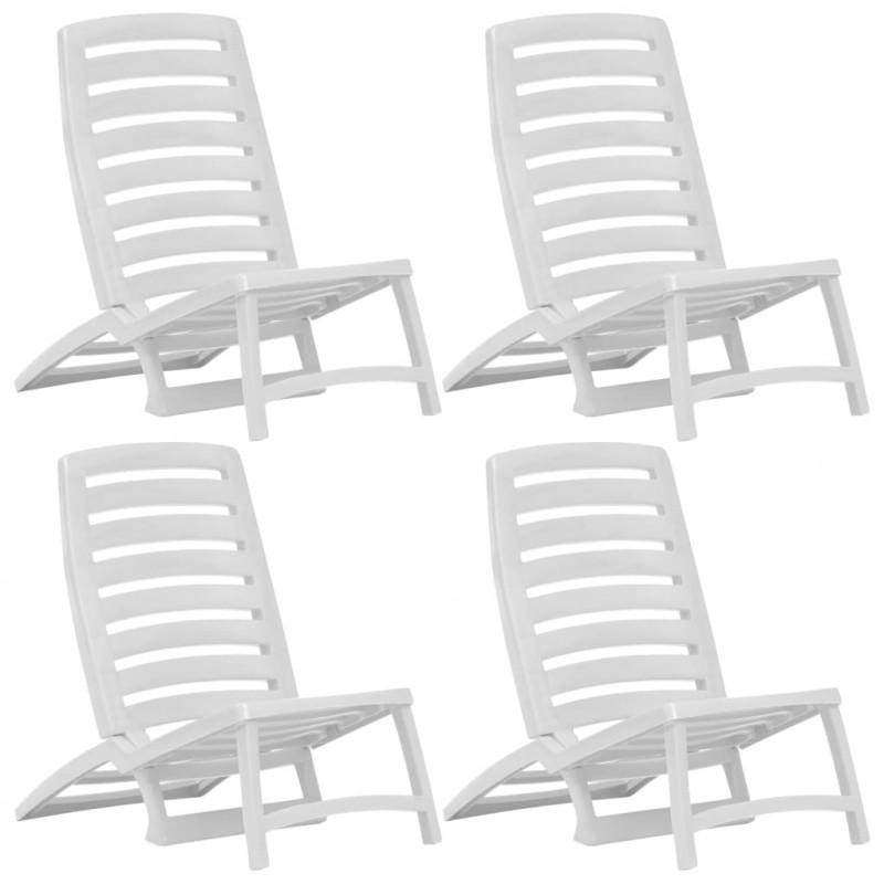 Vidaxl 4 De Jardín Silla Blanco Playa Plástico Unidades Muebles Plegable SLzVpGqUM