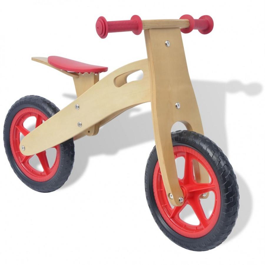 Vidaxl Bambini Famiglia Bicicletta Senza Pedali Rossa In Legno