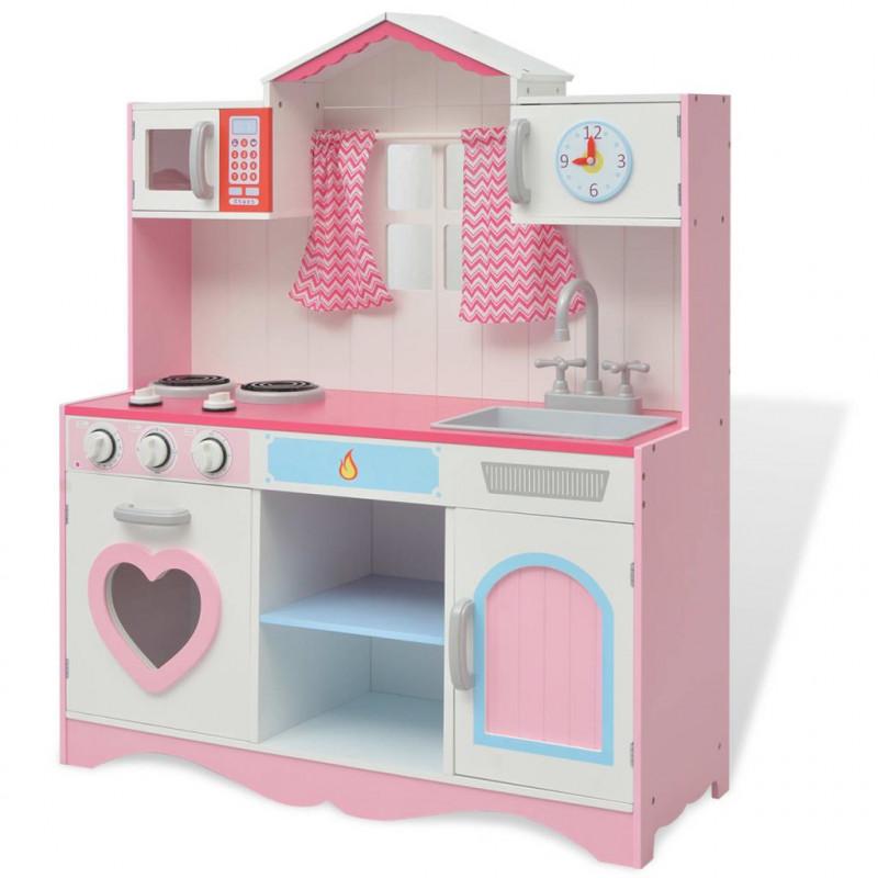 VidaXL Bambini & Famiglia Cucina Giocattolo in Legno 82x30x100 cm Rosa e  Bianca