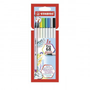 AST. 8COL ASS STABILO Pen 68 brush  1 Mm