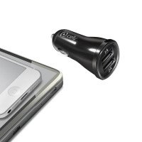 CAR CHARGER 2.1A DOUBLE USB BLACK