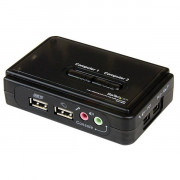 SWITCH KVM A 2 PORTE COMMUTATORE VGA USB CON AUDIO  IN