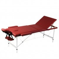 Table de Massage Pliante 3 Zones Rouge Cadre en Aluminium