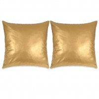 Set di Cuscini 2 pz in Pelle PU 45x45 cm Oro