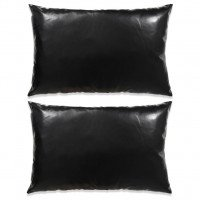Set di Cuscini 2 pz in Pelle PU 40x60 cm Nero