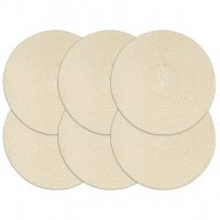 Napperons 6 pcs Naturel Plain 38 cm Rond Coton