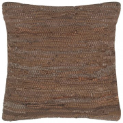 Cuscino Chindi Marrone 60x60 cm in Pelle e Cotone