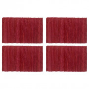 Napperons 4 pcs Chindi Plain Bordeaux 30 x 45 cm Coton